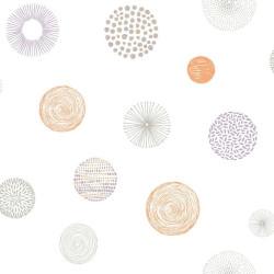 Papier peint pour enfant, Rond Graph, orange, PRETTY LILI, CASELIO