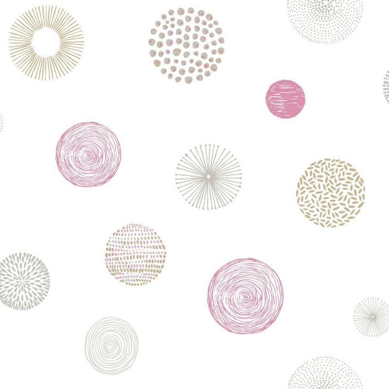 Papier peint Rond Graph rose et taupe PRETTY LILI - Caselio - PRLI69244011