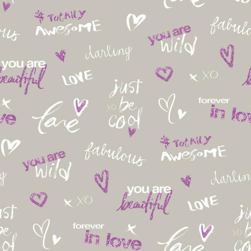 Papier peint Darling violet gris - PRETTY LILI - Caselio - PRLI69145050