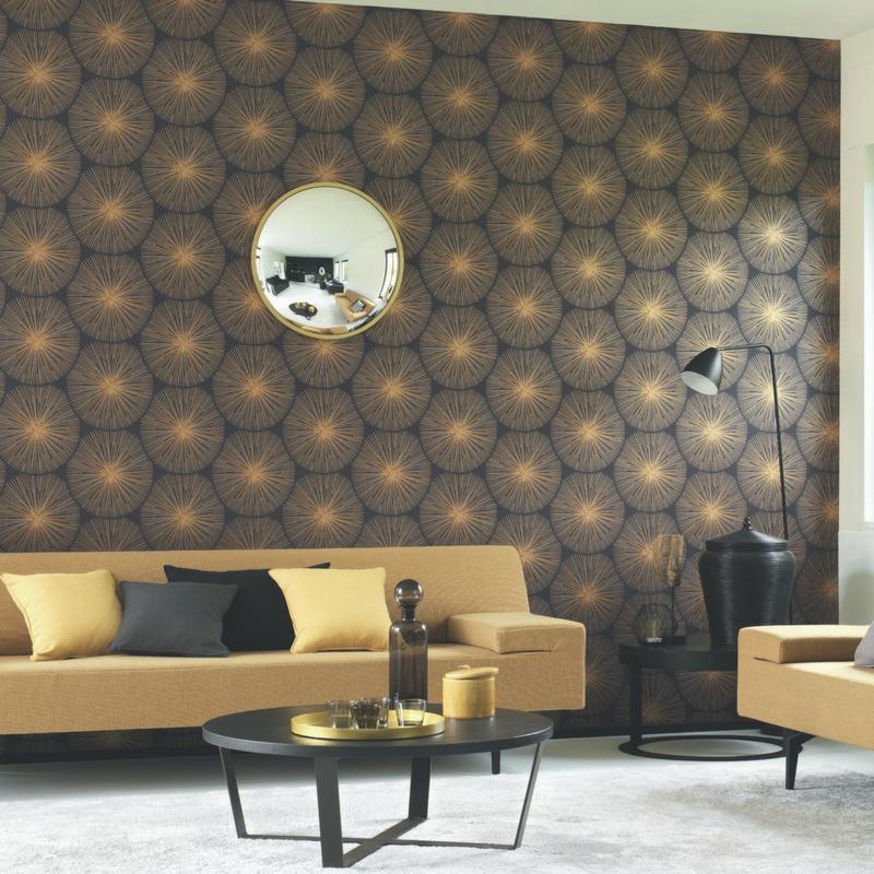 Papier peint Oursin Éclat noir et doré - HELSINKI - Casadeco - HELS82049512