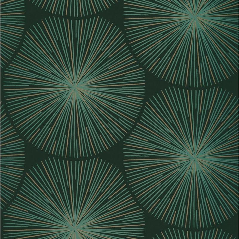 Papier Peint Eclat Vert Empire Et Cuivre Collection Helsinki Casadeco
