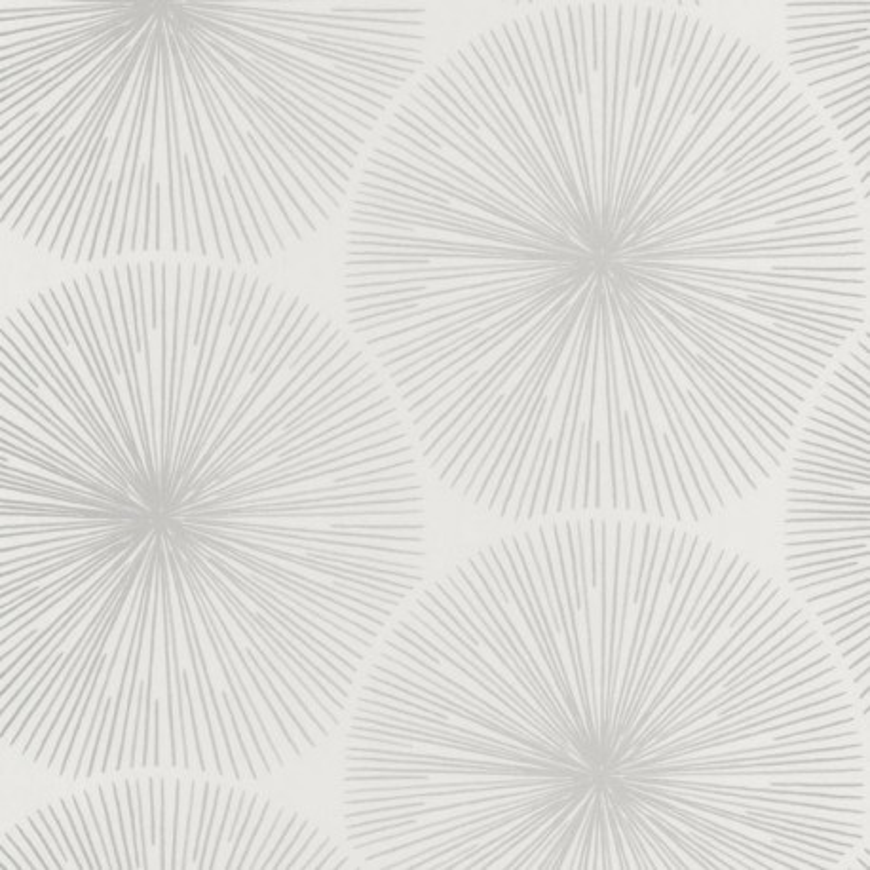 Papier peint Oursin Éclat blanc et taupe argenté - HELSINKI - Casadeco