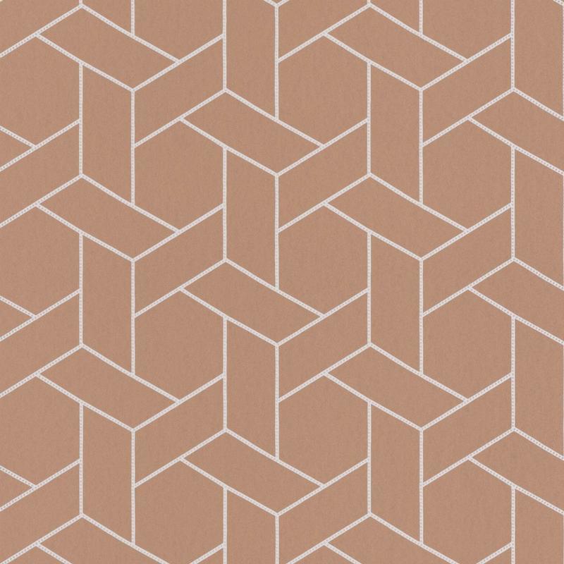 Papier peint Focale terracotta et argenté - HELSINKI - Casadeco - HELS82033106