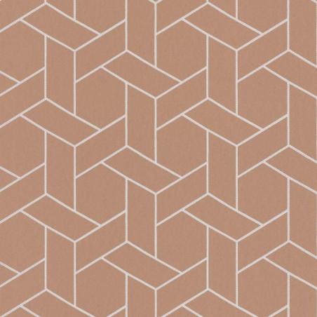 Papier peint Focale cuivre, touche argentée - HELSINKI - Casadeco