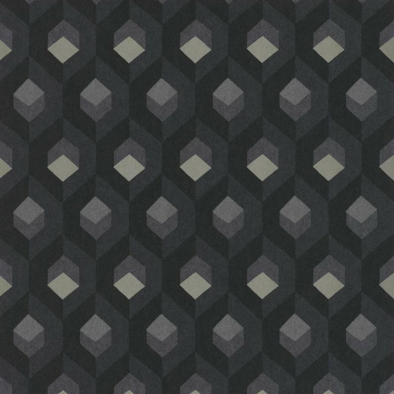 Papier peint Hexacube, gris anthracite, collection Helsinki, Casadeco