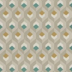 Papier peint Hexacube beige, vert et doré - HELSINKI - Casadeco
