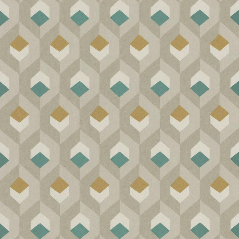 Papier peint Hexacube beige, vert et doré - HELSINKI - Casadeco - HELS82057407