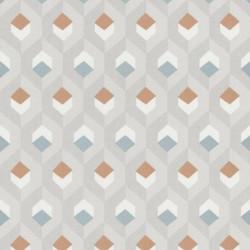 Papier peint Hexacube, gris, bleu, cuivre - HELSINKI - Casadeco