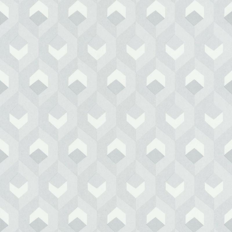 Papier peint Hexacube gris, blanc et argent - HELSINKI - Casadeco - HELS82050102