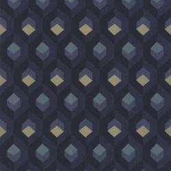 Papier peint Hexacube, bleu - HELSINKI - Casadeco