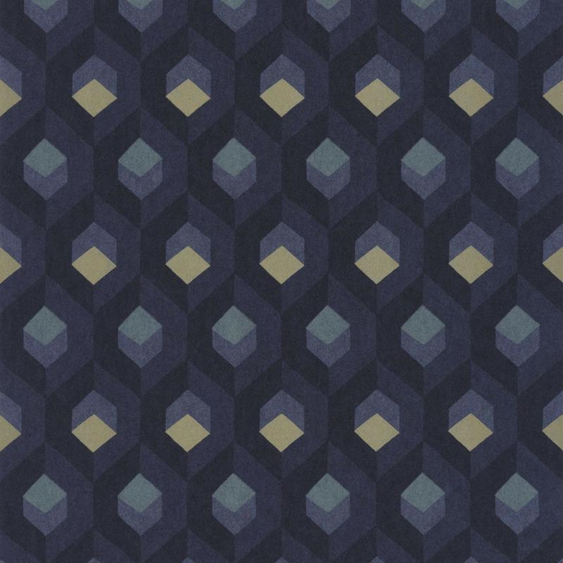 Papier peint Hexacube bleu encre et doré - HELSINKI - Casadeco - HELS82056523