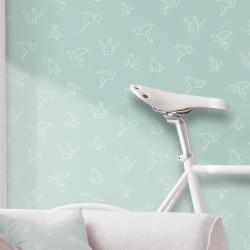 Papier peint Oiseaux Origami sur fond bleu pastel - GRAPHIQUE - UGEPA