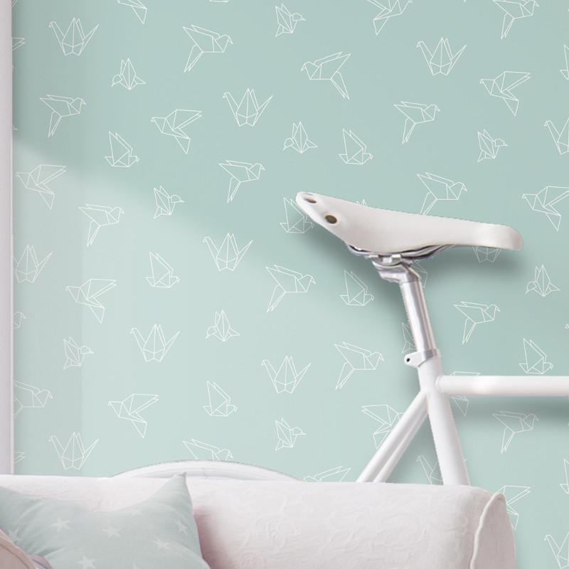 Papier Peint Oiseaux Origami Sur Fond Bleu Pastel Graphique Ugepa