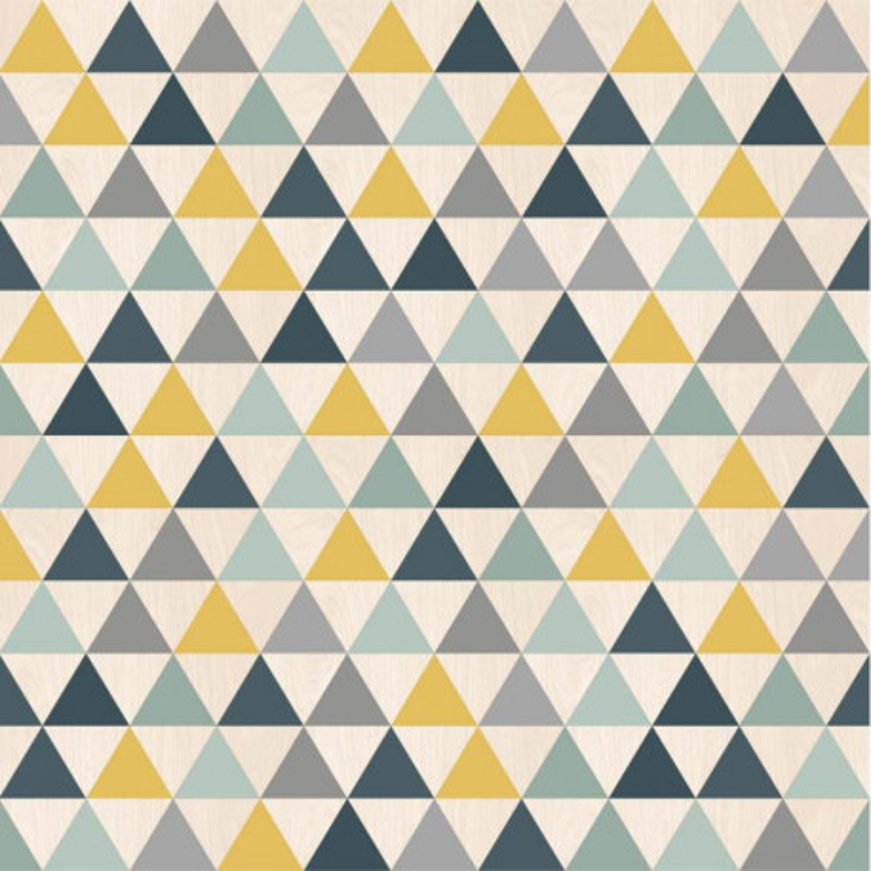 Papier peint Triangles bleu, jaune et gris - GRAPHIQUE - Ugepa - L297-01 / 579701
