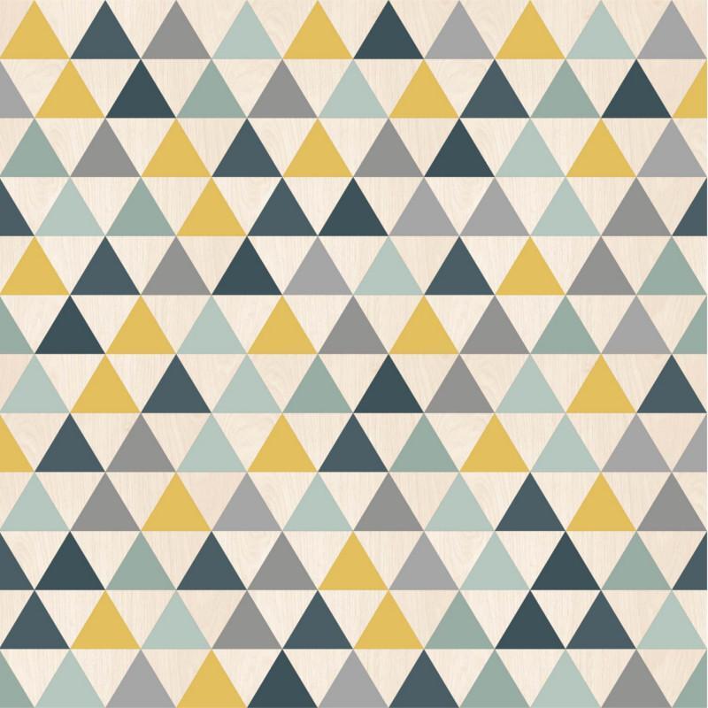 Papier peint Triangles bleu, jaune et gris - GRAPHIQUE - Ugepa - L297-01/GRA19053