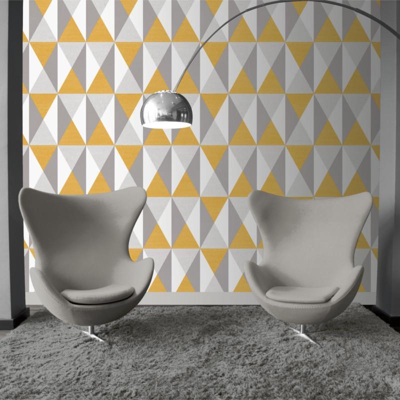Papier peint Triangles gris et jaune - GRAPHIQUE - Ugepa - J679-02/GRA19011