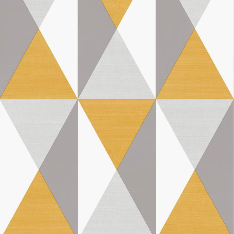 papier peint motif triangles gris et jaune graphique ugepa. Black Bedroom Furniture Sets. Home Design Ideas