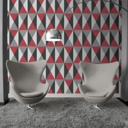 Papier peint motif géométrique Triangles rouge et gris - GRAPHIQUE - UGEPA