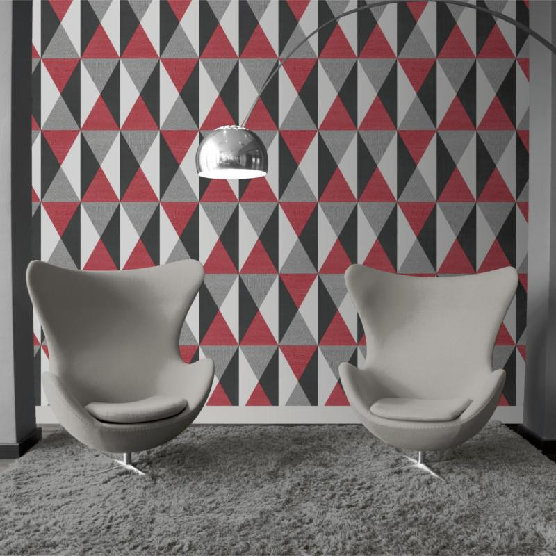 papier peint g om trique triangles rouge et gris graphique ugepa. Black Bedroom Furniture Sets. Home Design Ideas