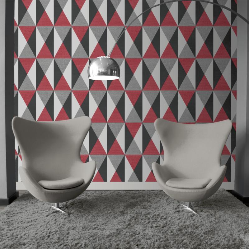Papier peint géométrique Triangles rouge et gris   GRAPHIQUE   UGEPA