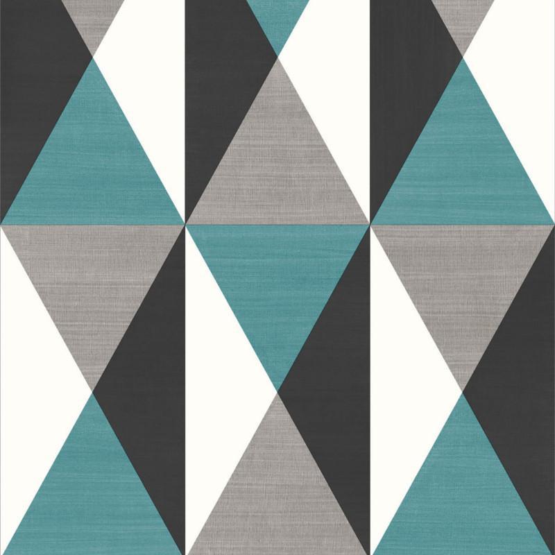 Agreable Papier Peint Motif Géométrique Triangles Bleu Et Gris   GRAPHIQUE   UGEPA