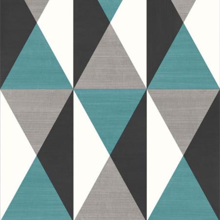 Papier peint motif géométrique Triangles bleu et gris - GRAPHIQUE - UGEPA
