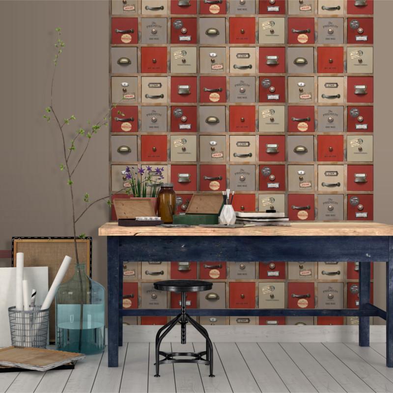 Papier peint Casier Atelier rouge - VOYAGES - Ugepa - 579410/VOY19059