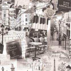 Papier peint patchwork Paris sepia - VOYAGES - UGEPA