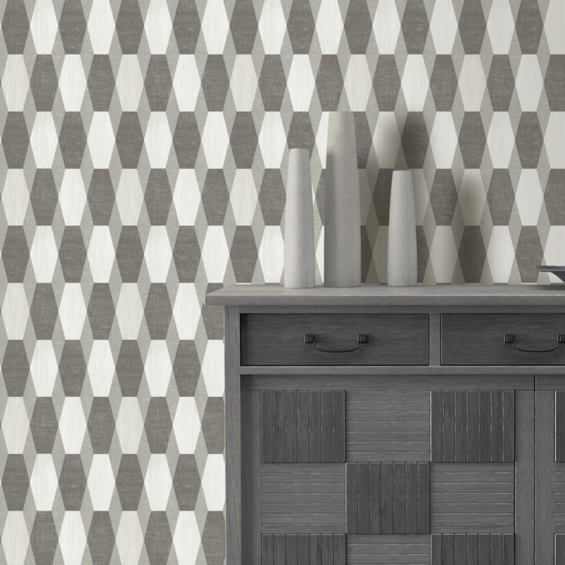 Papier peint Géométrique gris pailleté - GRAPHIQUE - Ugepa - L203-09/GRA19029