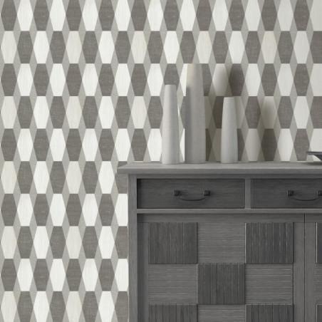 Papier peint à motifs géométriques gris pailleté - GRAPHIQUE - UGEPA