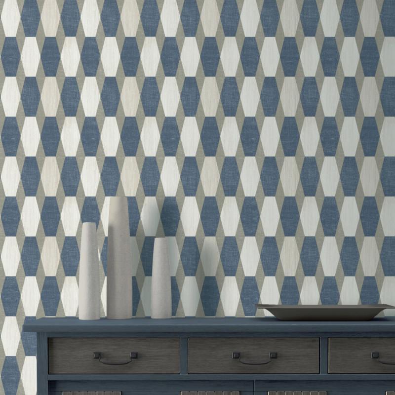 Papier Peint Motifs Geometriques Bleu Gris Paillete Graphique Ugepa