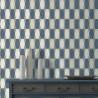 Papier peint à motifs géométriques bleu et gris pailleté - GRAPHIQUE - UGEPA