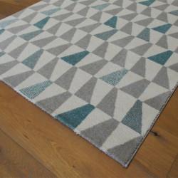 Tapis motif Triangles bleu et gris, fond blanc cassé - ELLE - BALTA