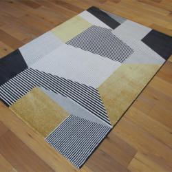Tapis très doux motif Géométrique jaune, gris et noir - 140x200cm - ELLE - BALTA