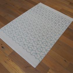Tapis Cubes bleus dégradés, fond blanc cassé - 140x200cm - ELLE - BALTA