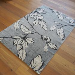 Tapis poil ras Fleurs beiges sur fond gris - 160x230cm - SPECTER