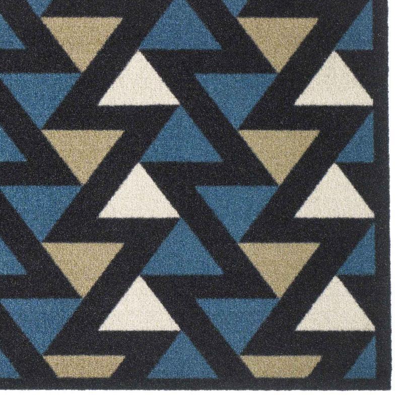 Paillasson / Tapis de propreté FASHION triangles bleu/noir/beige - 50x120cm Hamat