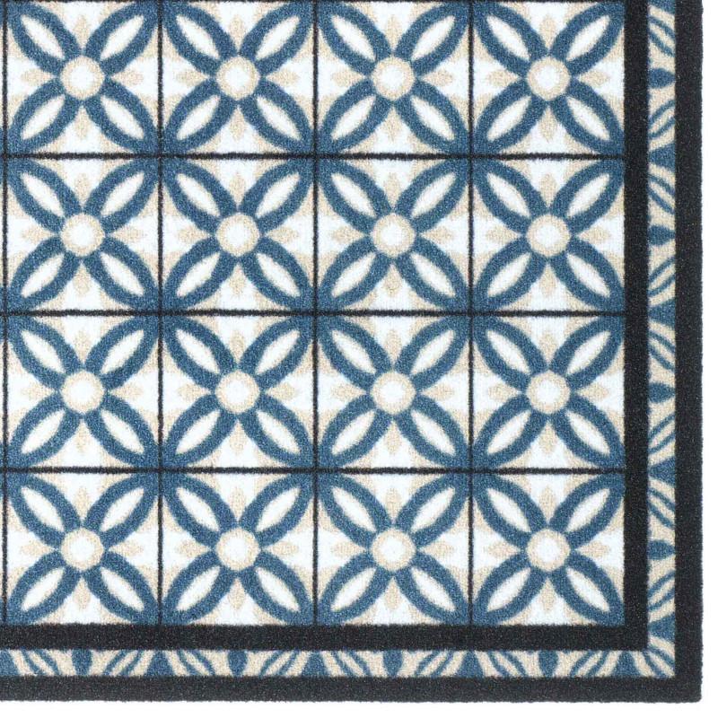 Paillasson Tapis De Propreté Fashion Carreaux Bleu 50x120cm Hamat