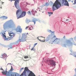 Papier peint fleuri, rose et bleu - Lucy in the sky - Rasch