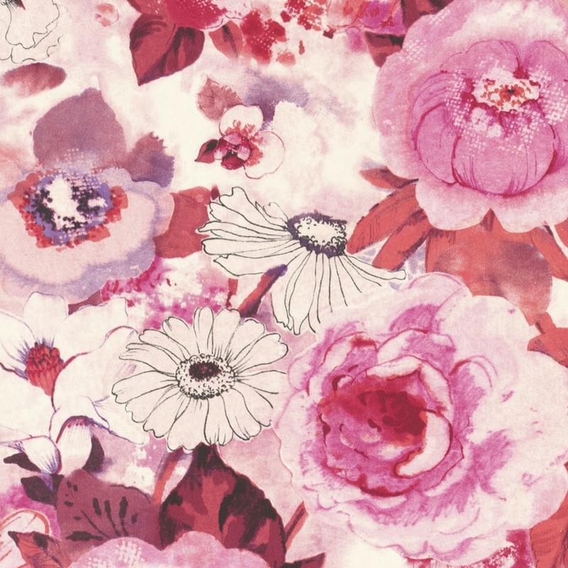 Papier Peint Intisse Fleuri Rose De La Collection Lucy In The Sky