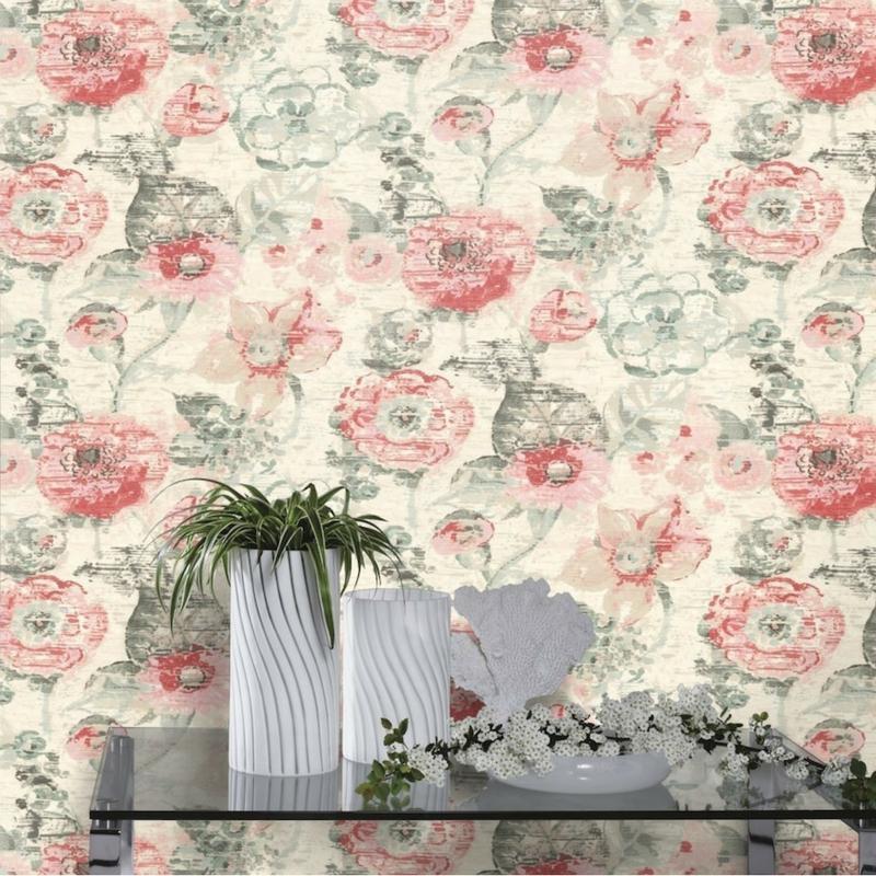 papier peint intiss fleur vintage de la collection lucy. Black Bedroom Furniture Sets. Home Design Ideas