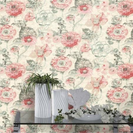 Papier peint Fleur VIntage, pastel gris et rose - Lucy in the sky - Rasch