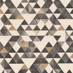Papier peint géométrique triangle or noir - Rétro Vintage - Lutèce