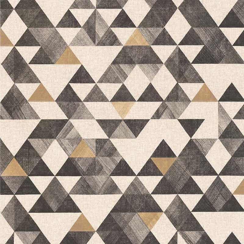 Exceptionnel Papier Peint Géométrique Triangle Or Noir   Rétro Vintage   Lutèce