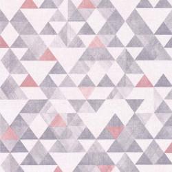 Papier peint géométrique gris et rose - Rétro Vintage - Lutèce