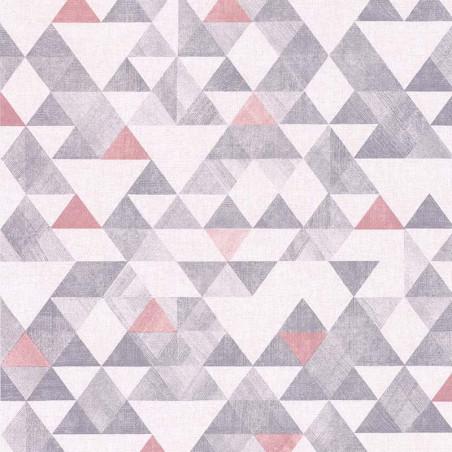 Papier peint géométrique triangle gris, rose, blanc - Rétro Vintage - Lutèce