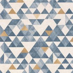 Papier peint géométrique triangle bleu canard, or et beige - Rétro Vintage - Lutèce