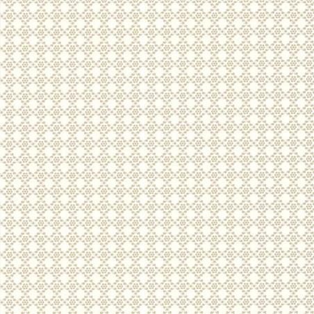 Papier peint Geometrie Florale Beige - Rétro Vintage - Lutèce