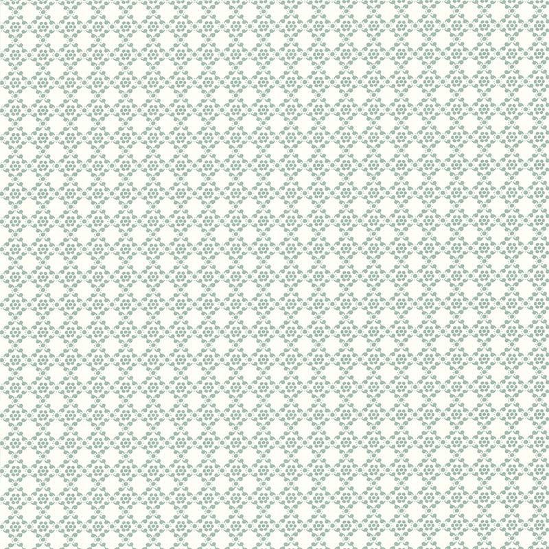 Papier peint Geometrie Florale Bleue - Rétro Vintage - Lutèce