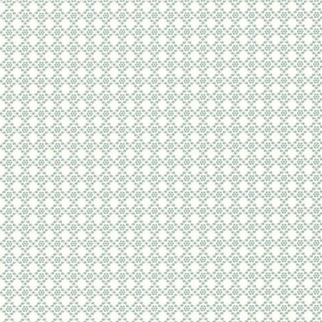 Papier peint Geometrie Florale Bleue- Rétro Vintage - Lutèce